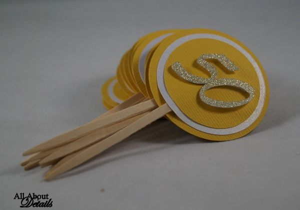 Gold 50 Cupcake Toppers