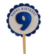 Shimmer Blue 9th Birthday Cupcake Toppers