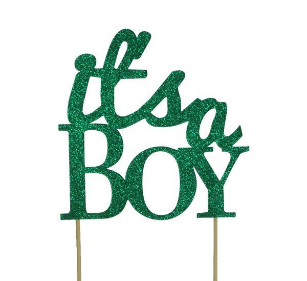 Green It's a Boy Cake Topper