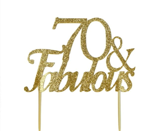 Gold 70 Fabulous Cake Topper
