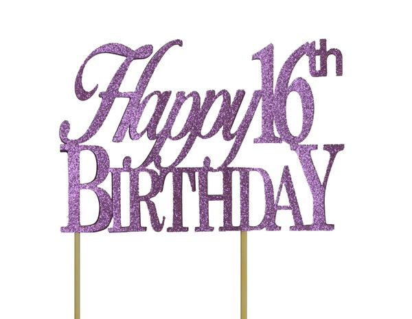 Purple Happy 16th Birthday Cake Topper