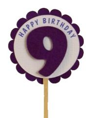 Shimmer Purple 9th Birthday Cupcake Toppers