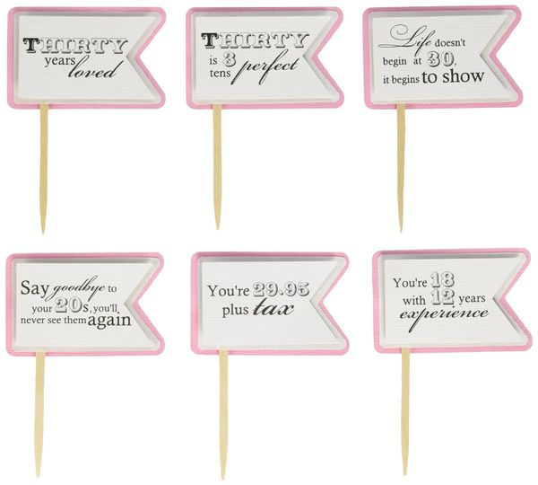 Bubblegum Pink 30th Birthday Quotes Cupcake Toppers