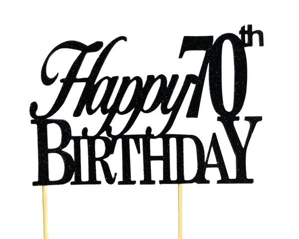 Black Happy 70th Birthday Cake Topper