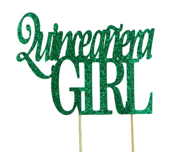 Green Quinceanera Girl Cake Topper