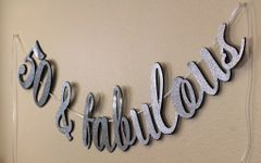 Black and Silver 50 & Fabulous Cursive Banner