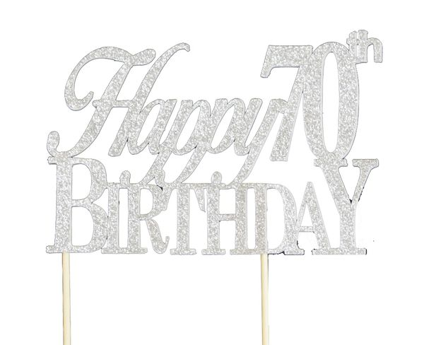 Silver Happy 70th Birthday Cake Topper