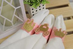 Shimmer Pink & Gold Princess Theme Napkin Holder, 1pc