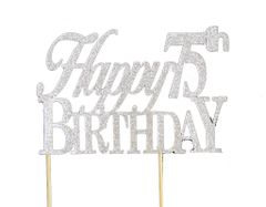 Silver Happy 75th Birthday Cake Topper