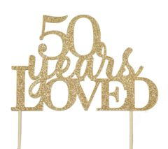 Gold 50 Years Loved Cake Topper
