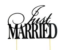 Black Just Married Cake Topper