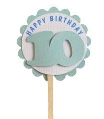 Shimmer Light Blue 10th Birthday Cupcake Toppers