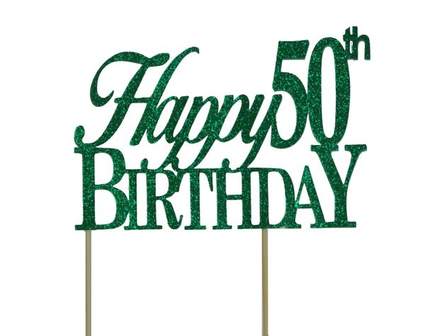 Green Happy 50th Birthday Cake Topper