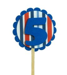 Blue & Stripes 5 Cupcake Toppers