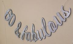 Black and Silver 60 & Fabulous Cursive Banner