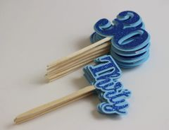 Blue Glitter Thirty Cupcake Toppers