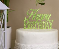 Lime Green Happy Birthday Cake Topper