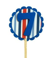 Blue & Stripes 7 Cupcake Toppers