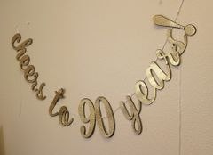Black & Gold Cheers to 90 Years! Cursive Banner
