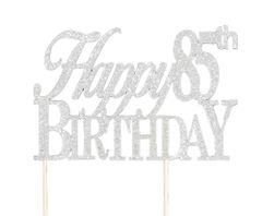 Silver Happy 85th Birthday Cake Topper