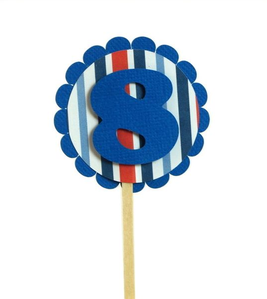 Blue & Stripes 8 Cupcake Toppers