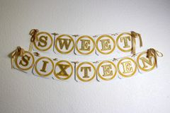 Gold Sweet Sixteen Banner