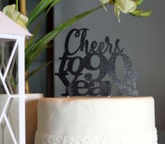Black Cheers to 90 Years! Cake Topper