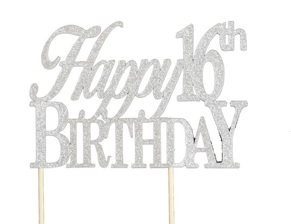 Silver Happy 16th Birthday Cake Topper