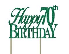 Green Happy 70th Birthday Cake Topper