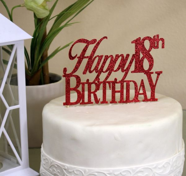 All About Details Red Happy 18th Birthday Cake Topper