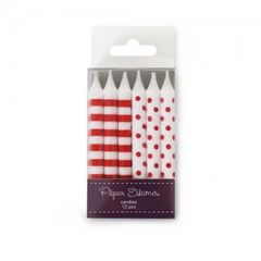 Dots & Stripes Birthday Candles Red Candy 12pc