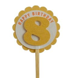 Shimmer Gold 8th Birthday Cupcake Toppers
