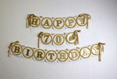 Gold Happy 70th Birthday Banner