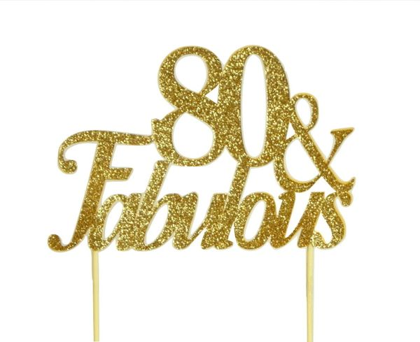 Gold 80 & Fabulous Cake Topper
