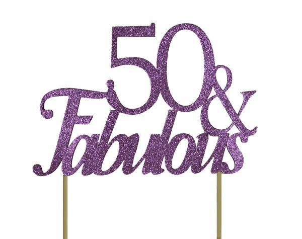 Purple 50 & Fabulous Cake Topper