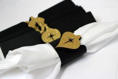 Black & Gold Christmas Ornament Napkin Holders, 12 pcs