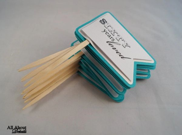 Teal 60th Birthday Quotes Cupcake Toppers