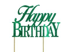 Green Happy Birthday Cake Topper
