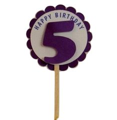 Shimmer Purple 5th Birthday Cupcake Toppers