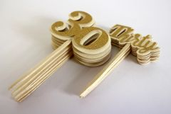 Gold Thirty Cupcake Toppers