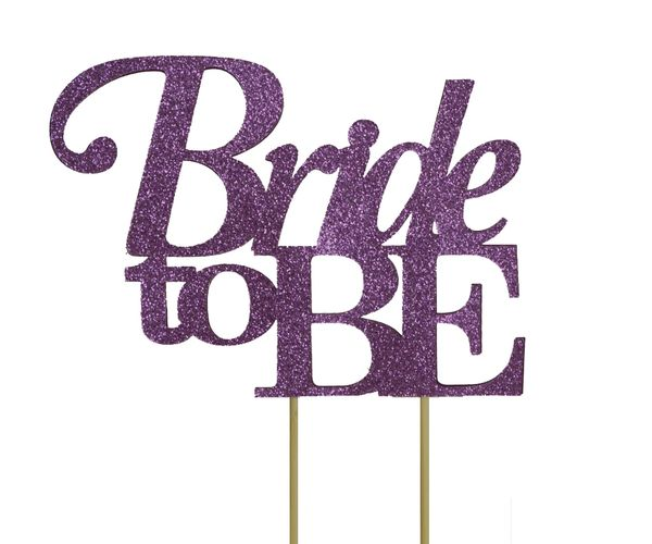 Purple Bride to be Cake Topper