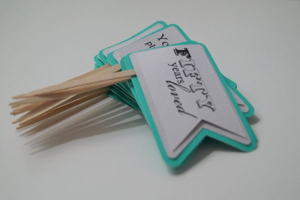 Patina Green 50th Birthday Quotes Cupcake Toppers