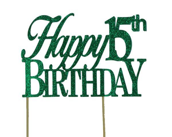Green Happy 15th Birthday Cake Topper