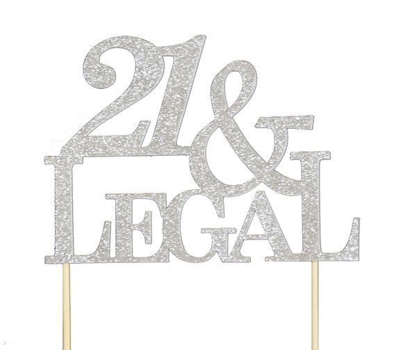 Silver 21 & Legal Cake Topper