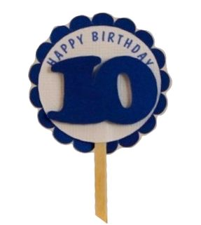 Shimmer Blue 10th Birthday Cupcake Toppers