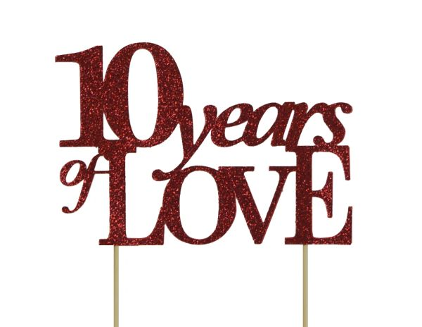 Red 10 Years of Love Cake Topper