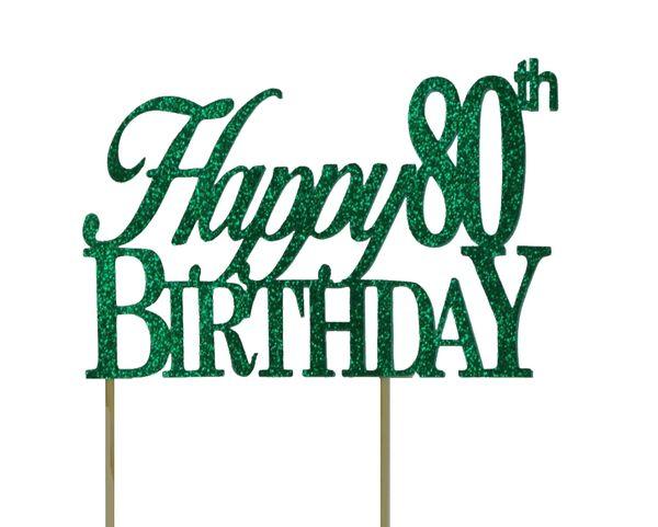 Green Happy 80th Birthday Cake Topper