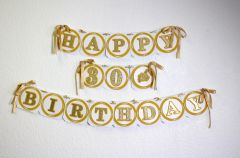 Gold Happy 30th Birthday Banner