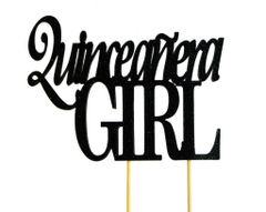 Black Quinceanera Girl Cake Topper