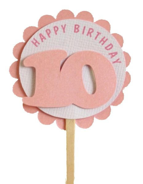 Shimmer Pink 10th Birthday Cupcake Toppers